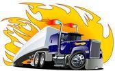 Vector Cartoon Semi Truck. One-click repaint — Stock Vector