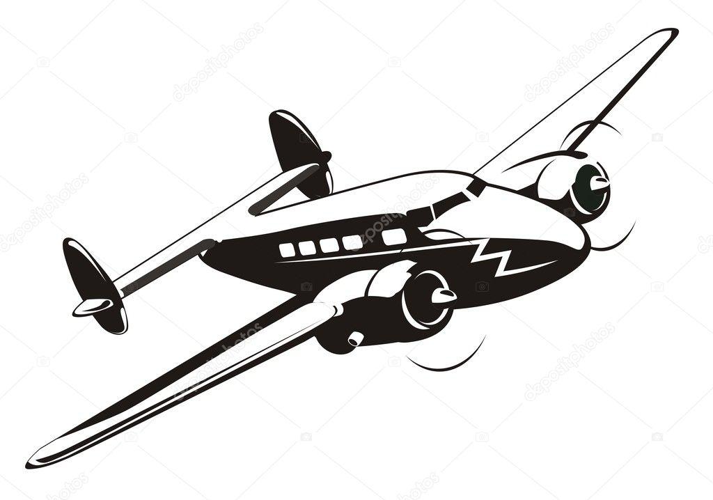 卡通复古飞机 — 矢量图片作者