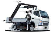 Vector Cartoon Lkw Truck with Crane — Stock Vector