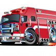 Vector Cartoon Fire Truck — Imagen vectorial