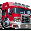 Vector Cartoon Fire Truck - Imagen vectorial