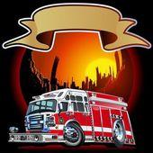Vector cartoon brandweerwagen — Stockvector