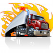 Vector Cartoon Semi Truck. One-click repaint — Stock Vector