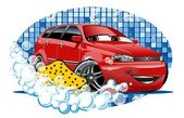 Car Washing sign with sponge — Stockvector
