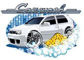 Segno con spugna di lavaggio auto — Vettoriale Stock