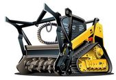 Vector Cartoon Land Clearing Mulcher — Vecteur