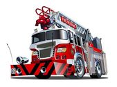 Vector cartoon firetruck — Vecteur