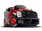 Vector Cartoon Fire Truck — Stock Vector