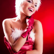 Woman dressed as Santa — Stock Photo #13160304