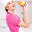 Cook with a sandwich — Stockfoto
