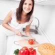 Woman making salad — Stock Photo #15318731