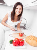 Woman making salad — Stock Photo