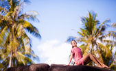 Woman at resort — Stock Photo