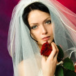 Beautiful brunette bride with a red rose — Stock Photo #1917468