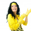 Beautiful woman puts on rubber gloves — Stock Photo #1986158