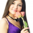 Pretty woman with tulips — Stock Photo #1993904