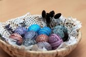 Ornamented Easter eggs in basket. — Stock Photo