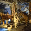 Stockfoto: Medieval miners and horses at work in WieliczkSalt Mine, Poland.