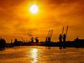 港の夕日 — ストック写真
