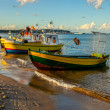 Foto Stock: Boats on beach