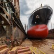Tanker in dry dock - Stock Photo