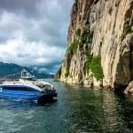 Ship in fjord — Stock Photo