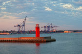 Container terminal at dawn — Stock Photo