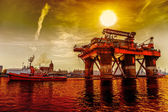 Towing Oil Rig — Stock Photo