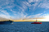 Tanker ship at sunrise — Stock Photo
