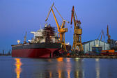Shipyard at dusk — Stock Photo