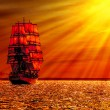 Sailing ship on the sea — Stock Photo