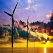 Stock Photo: Wind power under sunset