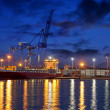 Stock Photo: Container ship at night