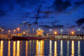 Container ship at night — Stock Photo