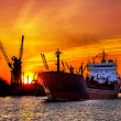 Stock Photo: Silhouette of sea port cranes over sunset