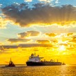 Ship at sunrise — Stock Photo