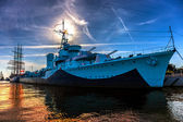 Warship in port — Stock Photo