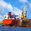Big ship in a shipyard — Stock Photo