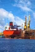 Big ship in a shipyard — Stock Photo