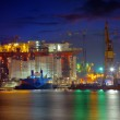 Oil Rig at night — Stock Photo
