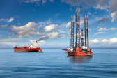 The offshore drilling oil rig. — Stock Photo
