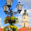 Lamp post with flower basket — Stock Photo