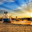 Port at sunset — Stock Photo