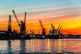 Sunset in port — Foto de Stock