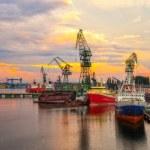 Shipyard at sunset — Stock Photo