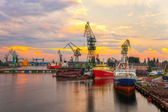 Shipyard at sunset — Stock Photo