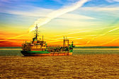 Dredger ship in port — Stock Photo