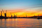 Sunset in port — Stock Photo