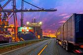 Truck in port — Stock Photo
