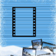 Striped background with a film frame — Stock Photo